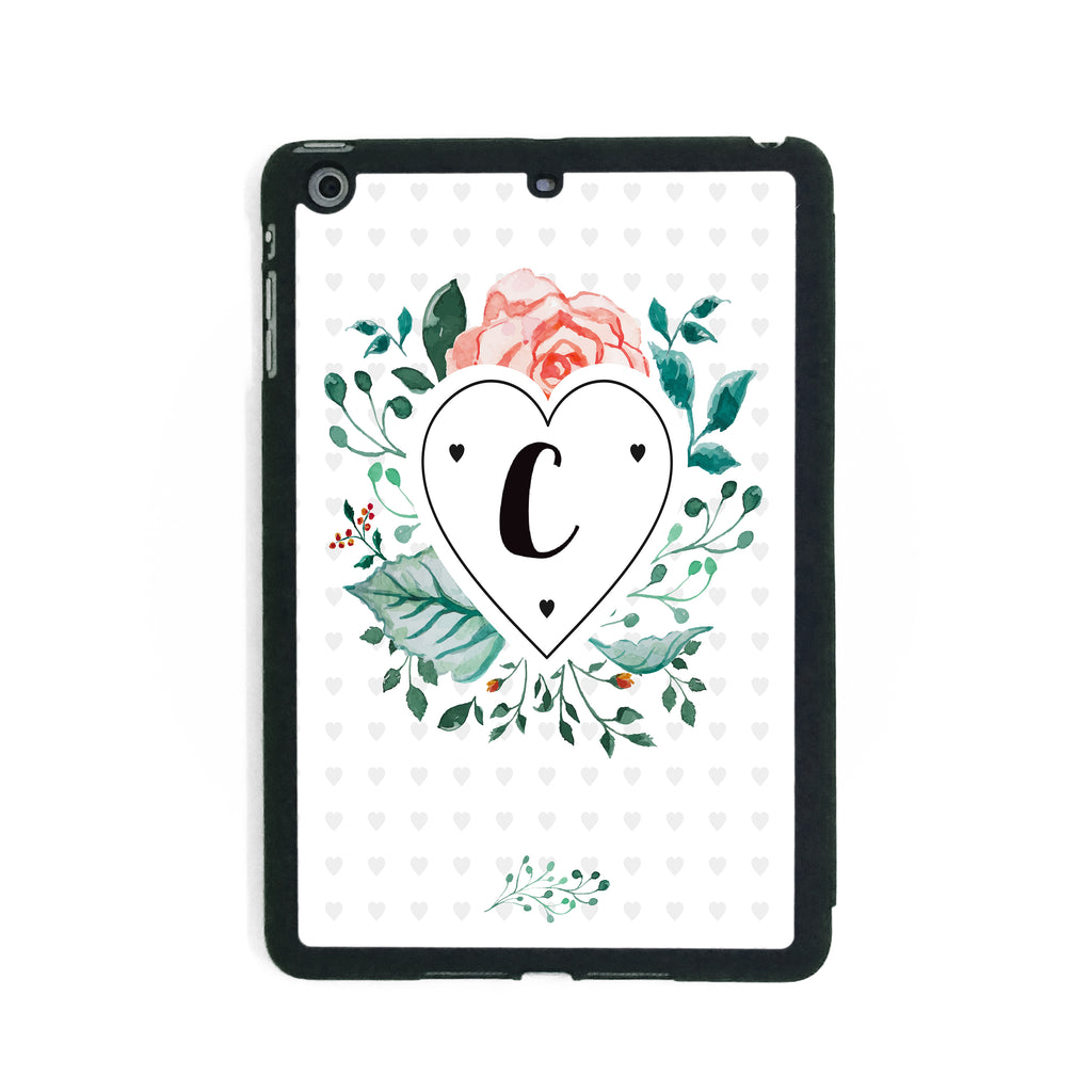 Floral Initial Heart - iPad Smart Case - Ai Printing