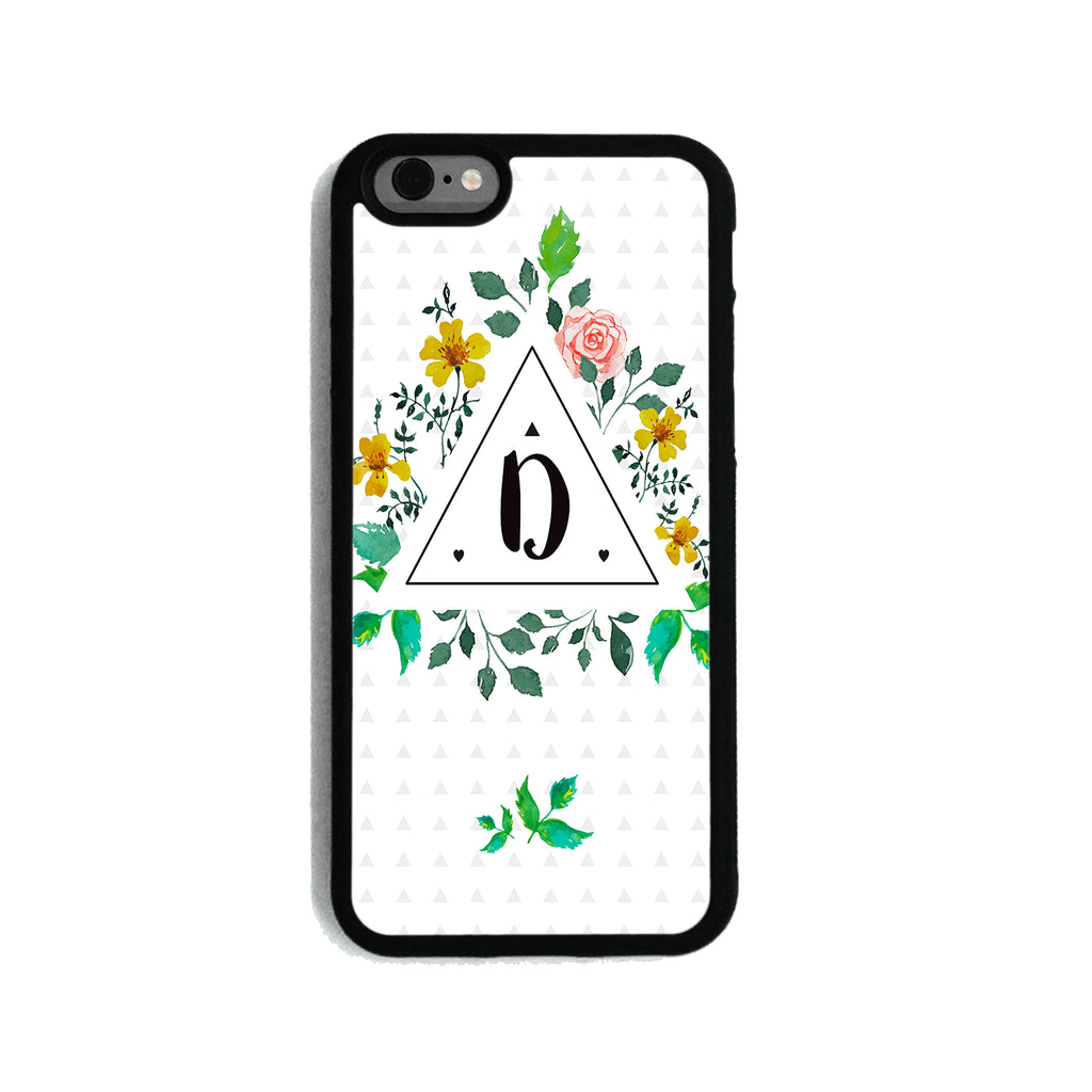 Floral Initial Triangle   - 2D Clip Case - Ai Printing