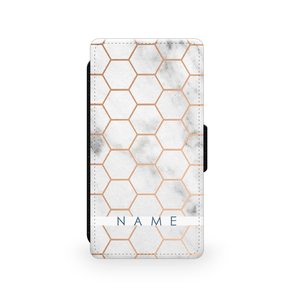 Marble & Gold Geometric Hexagon - Faux Leather Case - Ai Printing