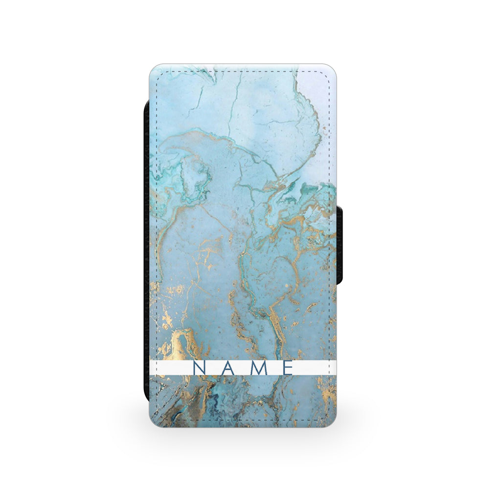 Blue & Gold Marble Effect - Faux Leather Case - Ai Printing
