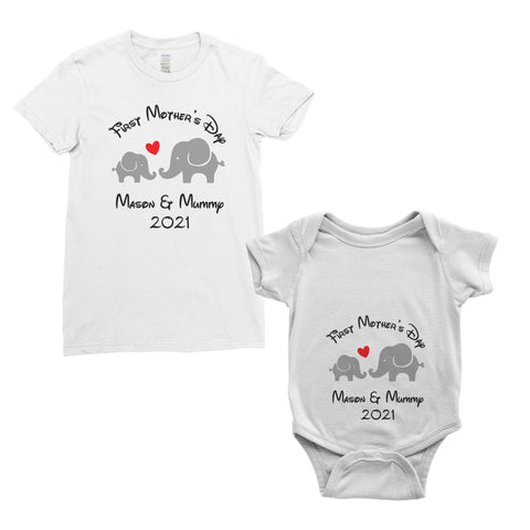 Personalised My First Mother's Day T-Shirt Mum Baby Bodysuit Onesie Mother's Day Gifts | Ai Printing