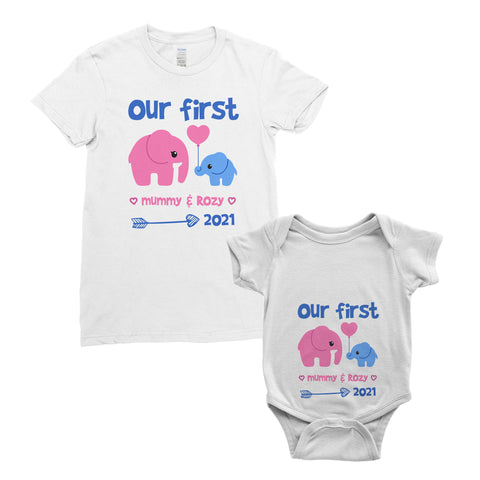 Personalised My First Mother's Day Cute Elephent T-Shirt Mum Baby Bodysuit Onesie Mother's Day Gifts