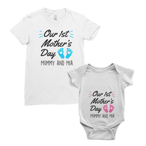 Personalised My First Mother's Day T-Shirt Mum Baby Bodysuit Onesie Mother's Day Gifts