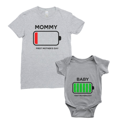 Personalised My First Mother's Day T-Shirt Battary Full Low Mum Baby Bodysuit Onesie Mother's Day Gifts