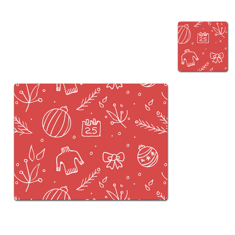 Christmas Doodle Pattern A - Placemat & Coaster - Set - Ai Printing