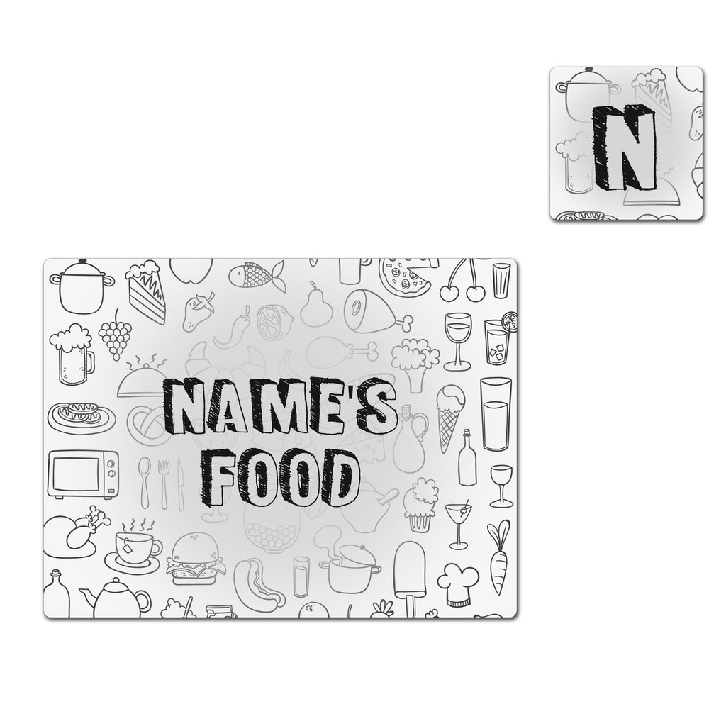 Dinner Time Name & Initials - Placemat & Coaster - Set - Ai Printing