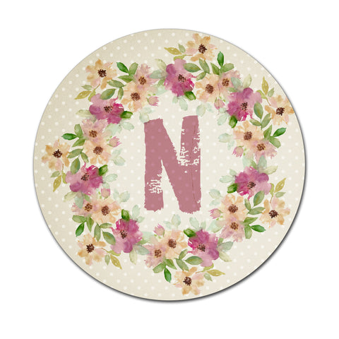Beige Floral Watercolours - Round Coaster - Ai Printing