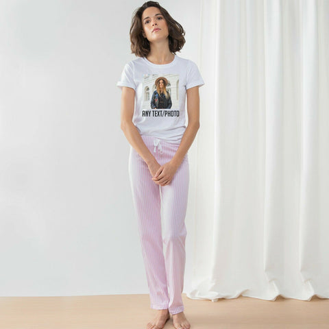 Personalised long pant pajama set Nightwear Valentine's Gift For Her | Ai Printing