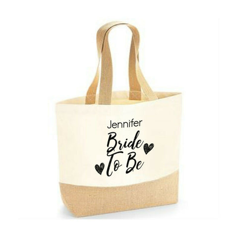 Personalised Tote Bag Bride To Be Wedding Bride Maid Hen Party Jute Base Canvas - Tote Bag | Ai Printing - Ai Printing