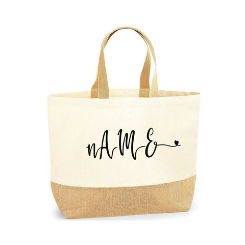 Personalised Tote Bag Custom Name Initial Jute Base Canvas Beach Bag - Tote Bag | Ai Printing - Ai Printing