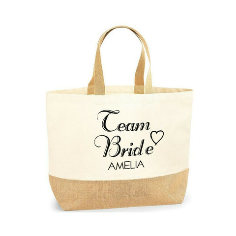 Personalised Name Initial Team Bride Wedding Lovely Jute Base Canvas Tote Bag  - Tote Bag | Ai Printing - Ai Printing