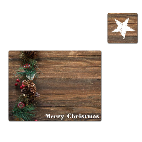 Christmas Wood Effect - Placemat & Coaster - Set - Ai Printing