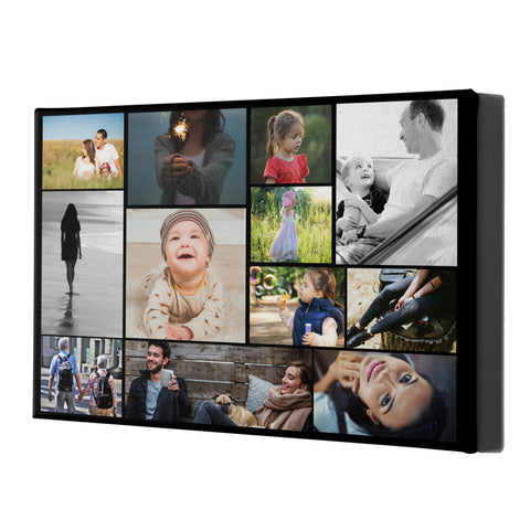Collage Style Personalised Canvases - Black Landscape Portrait - Ai Printing