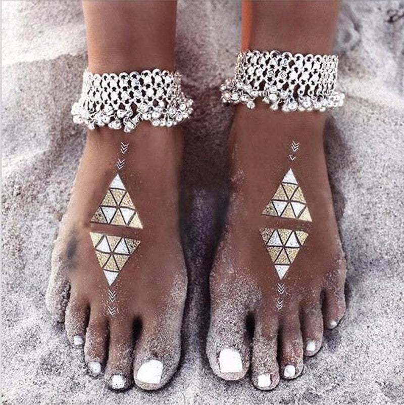 Indian Inspired Bells and Beads Silver Chain Anklet - FeetyWeety