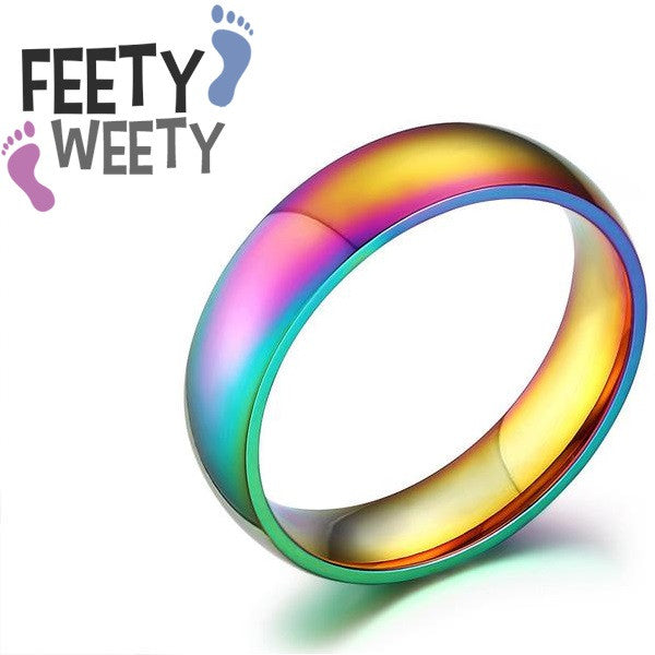 Love Wins Stainless Steel Spectrum Pride Ring - FeetyWeety