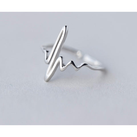 Sterling Silver EKG Love Life Toe Ring - 925 - FeetyWeety