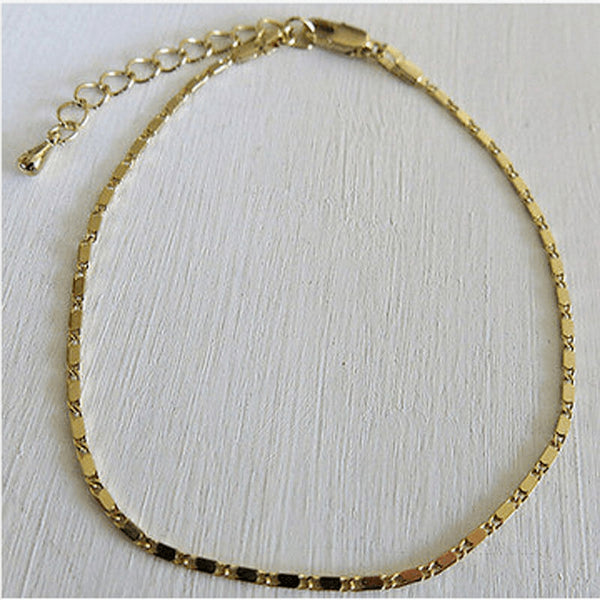 Simple and Timeless Fine Silver & Gold Anklet - FeetyWeety
