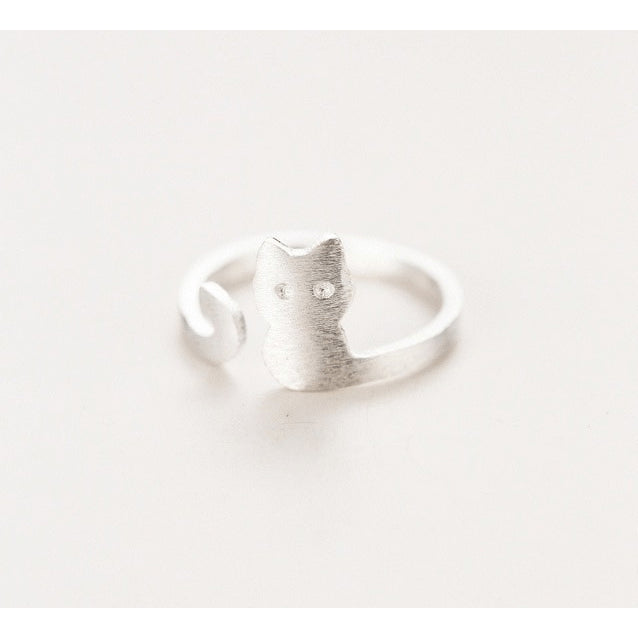 Silver Plated Brushed Steel Naughty Kitty Toe Ring - FeetyWeety