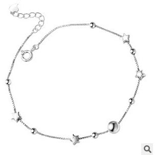 Sterling Silver Fine Chain Stars and Circles Anklet - 925 - FeetyWeety