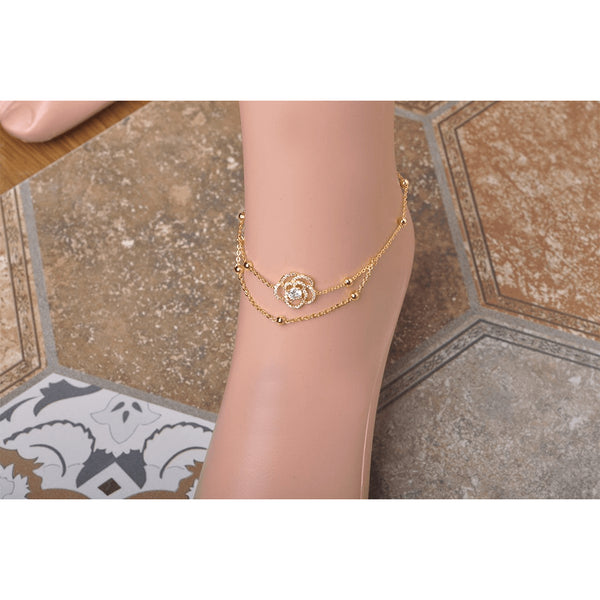 Gold Plated Infinity Rose Ankle Bracelet - FeetyWeety