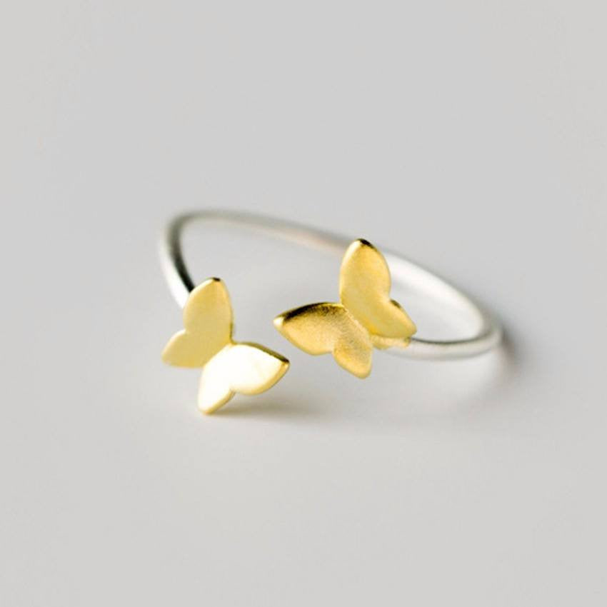 Sterling Silver Golden Spring Butterflies Toe Ring - 925 - FeetyWeety