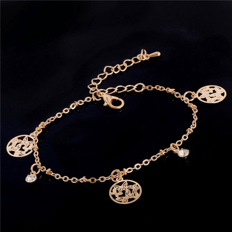 Fine Gold & Crystal Bloom Anklet - 3 Variants - FeetyWeety