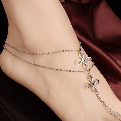 Intertwined Multi Layer SIlver Ankle Bracelet - FeetyWeety