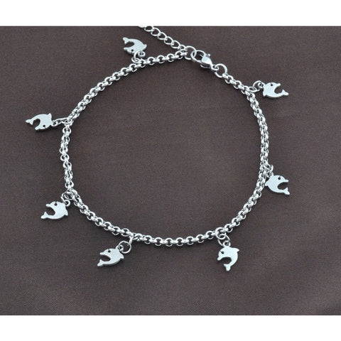 Stainless Steel Chainmail Dolphin Love Anklet - FeetyWeety