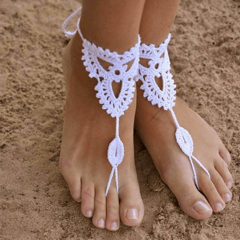 Handmade Organic Cotton Crochet Anklet - FeetyWeety