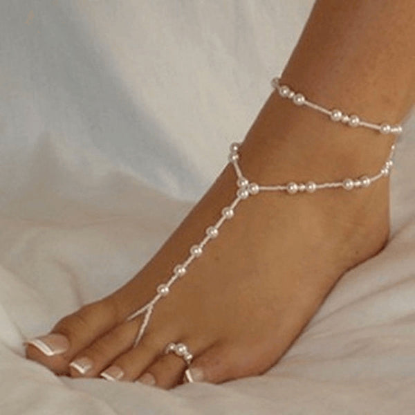 Gentle Pearl Studded Purity Anklet - FeetyWeety