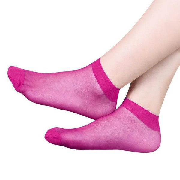 Invisible Crystal Lace Silk Ladies' Socks - 10 Variants - FeetyWeety
