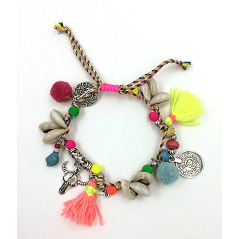Organic Cotton Rope Multi Charm Anklet - FeetyWeety