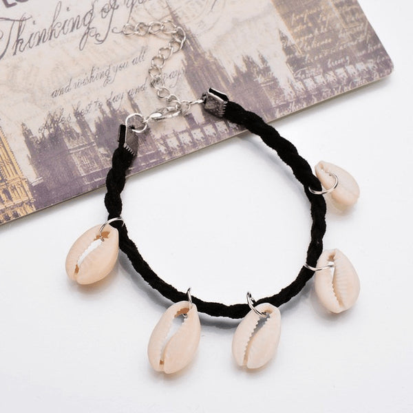 Organic Black Cotton Seafloor Anklet - FeetyWeety
