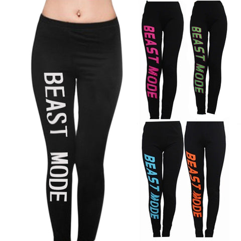 Beast & Mode Women Letters Printed Slim Leggings