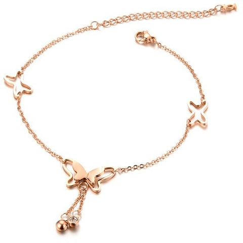 Rose Gold Plated Butterflies & Crystals Anklet - FeetyWeety