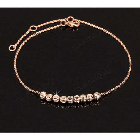 Rose Gold & Silver Fine Chain Mosaic Beaded Anklet - FeetyWeety