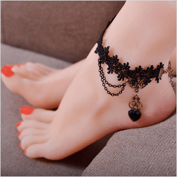 Gothic Style Black Lace & Crystal Heart Anklet - FeetyWeety