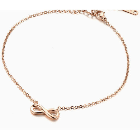 Rose Gold Plated Stainless Steel Infinte Love Anklet - FeetyWeety