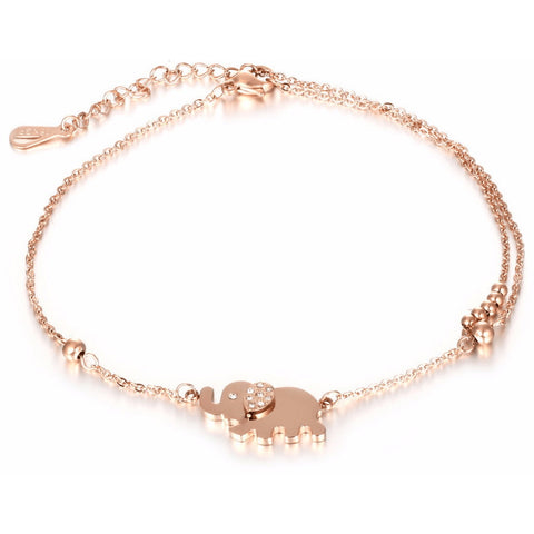 Fine Rose Gold & Crystal Walking Elephant Anklet - FeetyWeety