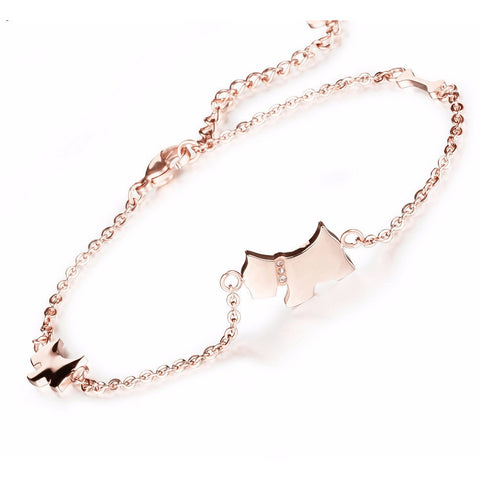 Rose Gold Plated Fine Chain Puppy Love Anklet - FeetyWeety