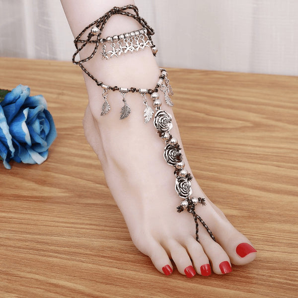 Tribal Silver Rose Bohemian Anklet - FeetyWeety