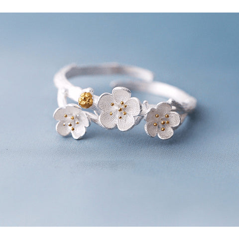 Sterling Silver Gold Painted Cherry Blossom Toe Ring - 925 - FeetyWeety