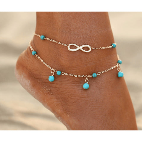 Infinite Turquoise SIlver & Gold Ankle Bracelet - FeetyWeety
