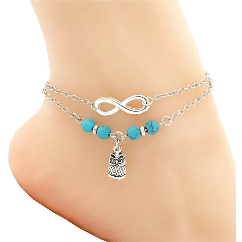 Turquoise Infinite Owl Silver Anklet - FeetyWeety