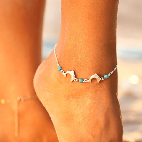 Turquoise & Silver Dolphin Love Chain Anklet - FeetyWeety