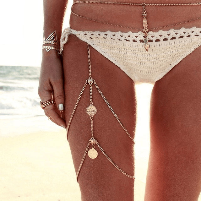 Sexy Threaded Multi Tassel Silver & Gold Leg Chain - FeetyWeety