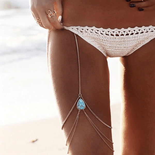 Sexy Threaded Silver & Gold Turquoise Body Chain - FeetyWeety