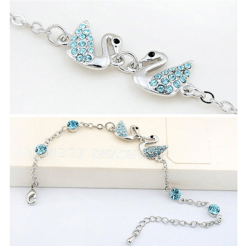 Austrian Crystal Swan Queens Charm Anklet - FeetyWeety