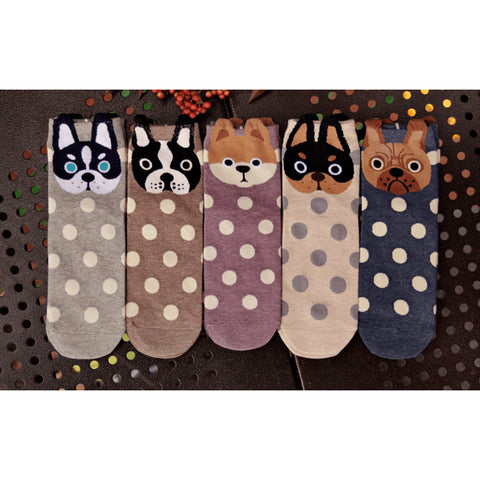 Ladies' Cotton Polka Dot Dog Squad Socks - 5 Variants - FeetyWeety