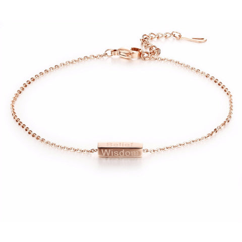 Rose Gold Plated Fate Cube Fine Chain Anklet - FeetyWeety